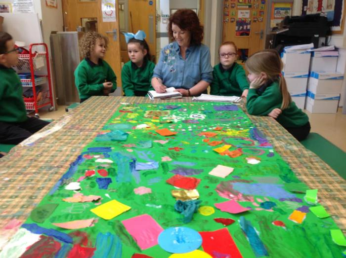 "Reviewing the work and deciding on the title which the children decided would be ""The Garden"""
